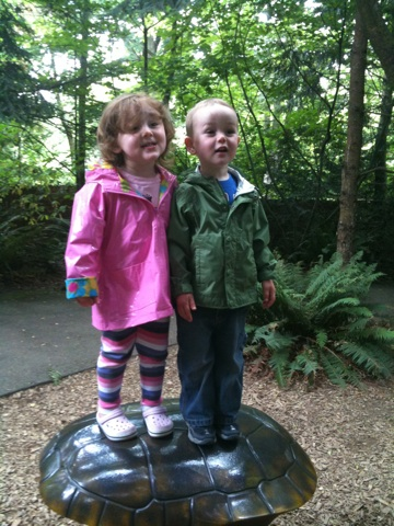 Kids in raincoats on a turtle shell