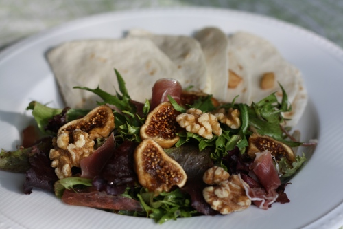 Brie Apple Cinnamon Quesadillas with Fig Salad