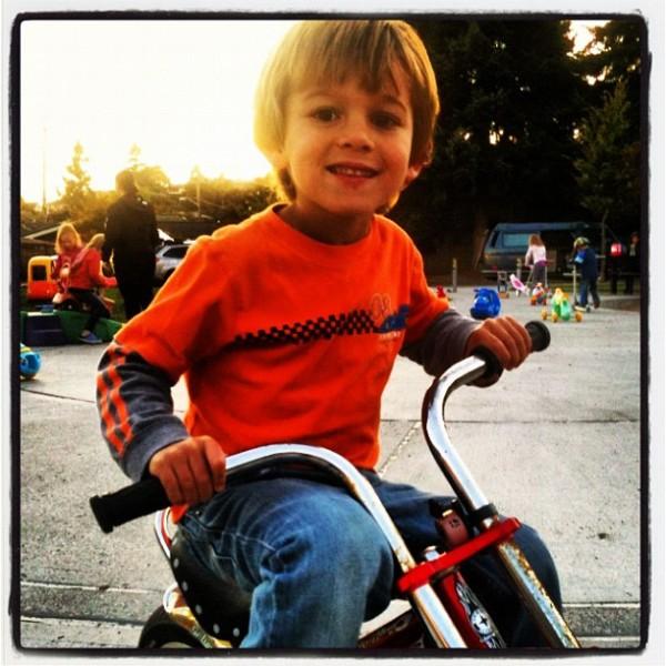 Cameron on Bike