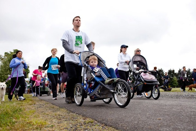 Big Back Yard 5k dad and stroller from FB