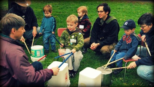 Kids drumming outside