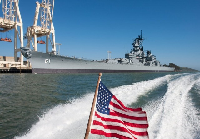 USS Iowa American Flag