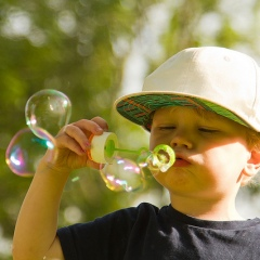 bubbles, happy kid, outdoor play, toddler boy