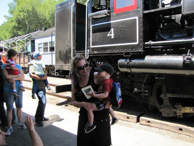 mom-and-son-train engine