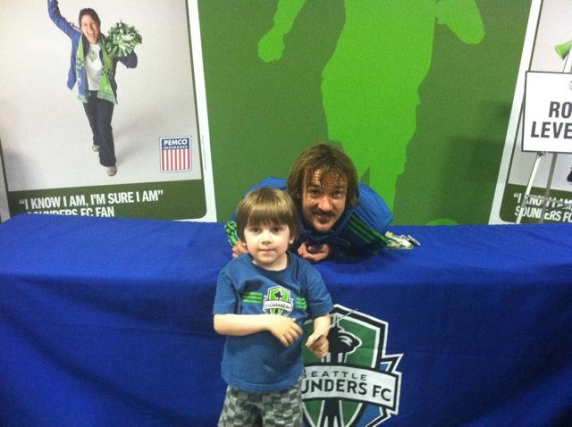 Little boy and Seattle Sounders player