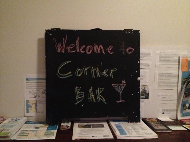 Corner Bar welcome sign
