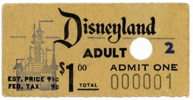 Disneyland ticket No. 1 purchased by Roy O. Disney