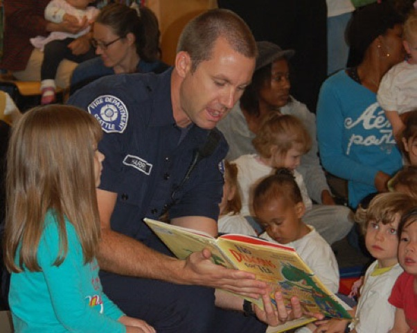 Firefighter story time two in tow pic