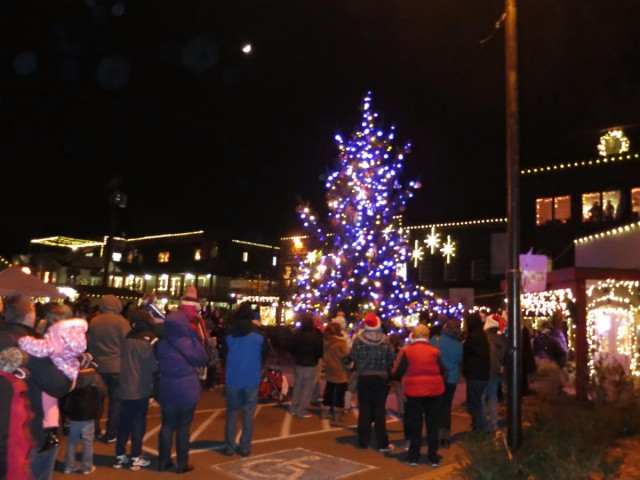 country village shops tree lighting