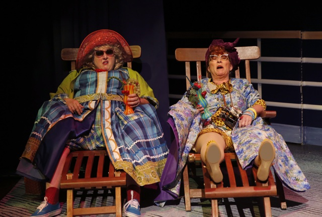 James and Peach aunts on bench