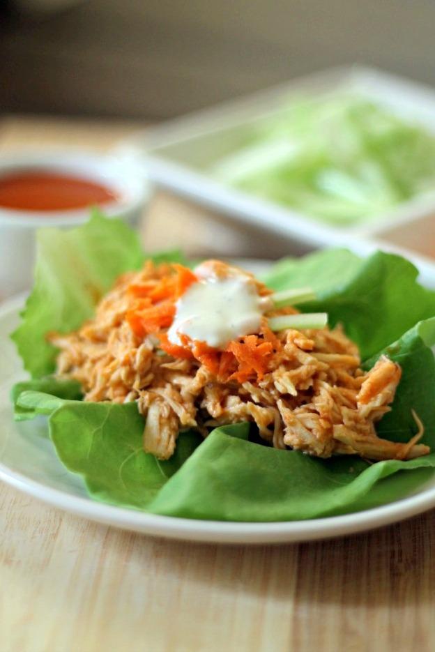 Slow-cooker-Buffalo-Chicken-Lettuce-Wraps