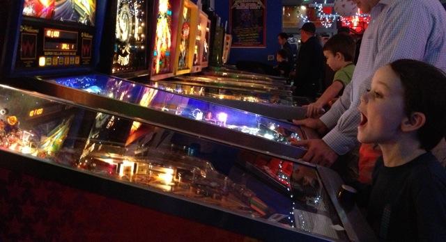 Seattle Pinball Museum boy amazed