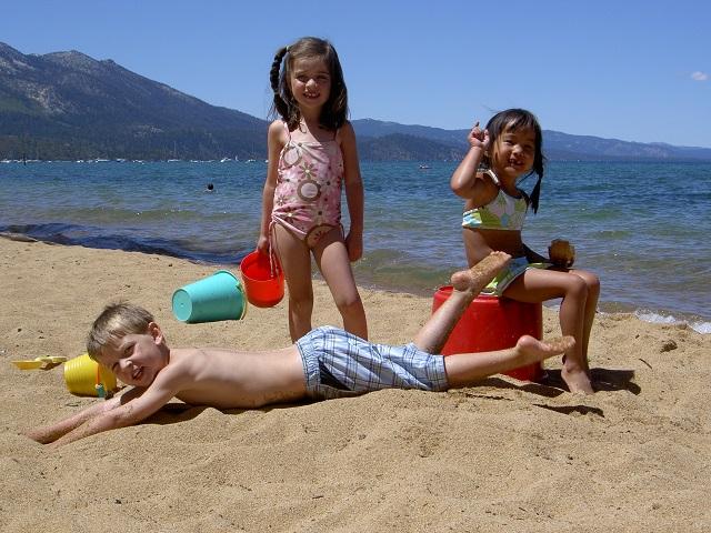 Tahoe beach kids round hill