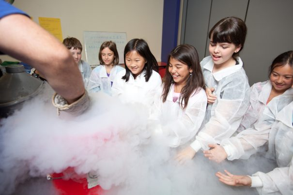 Pacific Science Center offers Parents' Night Out events all year round. Spend a night out (or in!) while your child enjoys private, after-hours exploration of our exhibits, hands-on activities, and a live science, planetarium or laser light show. Your child will enjoy a light snack upon arrival and a science-themed treat later in the evening. Participants will be supervised in age groups by our outstanding and experienced staff all evening. When you come back for pick-up, be prepared for enthusiastic stories about the evening's activities. Mystery at the Museum - October 18 It's been over 50 years since the 1962 World's Fair at Pacific Science Center, and a major discovery has just taken place. A message was hidden among the exhibits, and we need your help to uncover the mystery. Spend the evening hunting for clues in our exhibits and analyzing your findings back in the lab. Search for secrets among the stars in the planetarium and reveal invisible signs to crack the code. As a reward for closing the case, enjoy a scoop of liquid nitrogren ice cream!