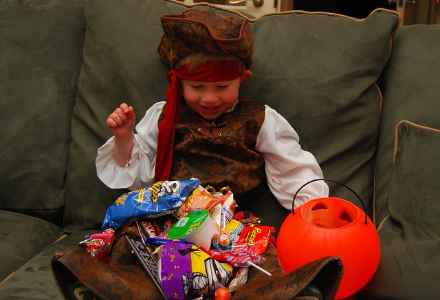 pirate with halloween candy