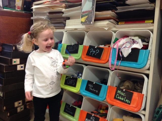 Little girl and bins Tinkertopia