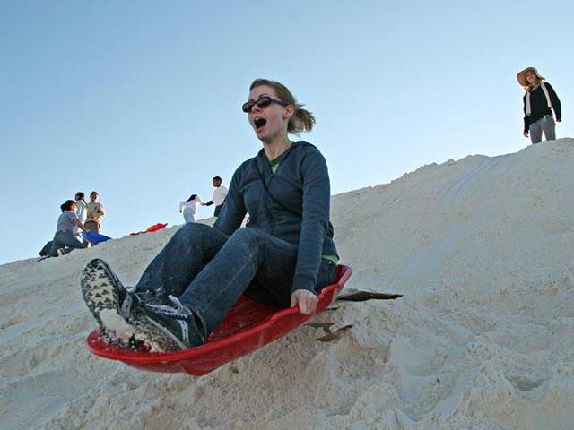 Sand-Sledding-woman-mom