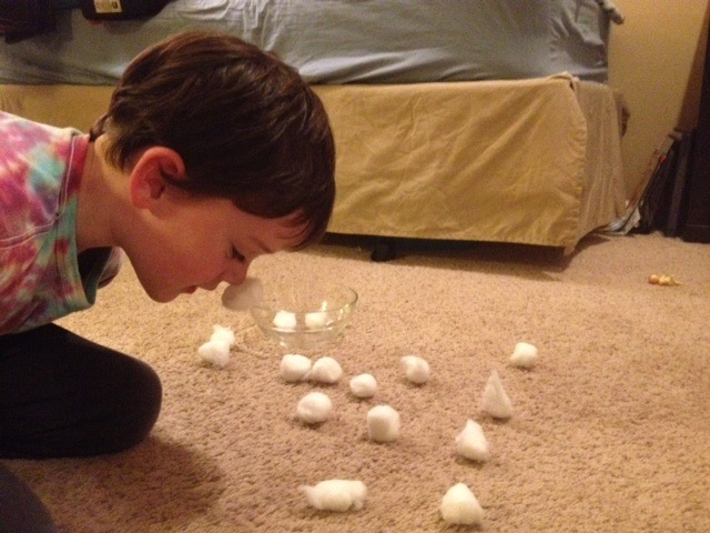 Cotton ball shoveling game