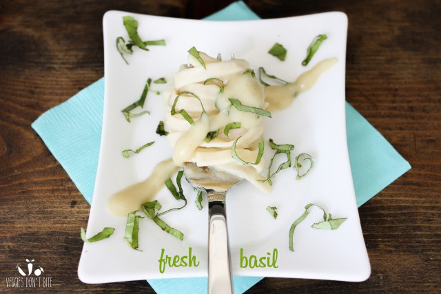 Fat Free Roasted Garlic Cauliflower Alfredo with Fresh Basil