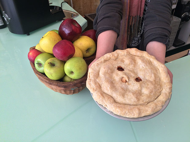 pels holding pie