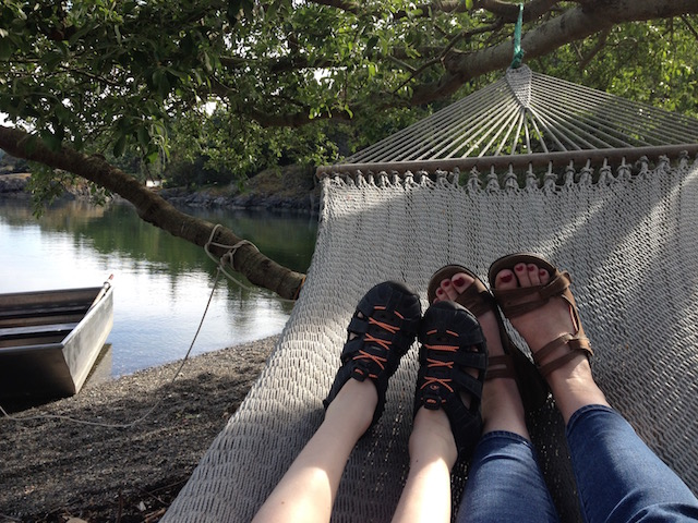 mom and kid feet in hammock at pcf