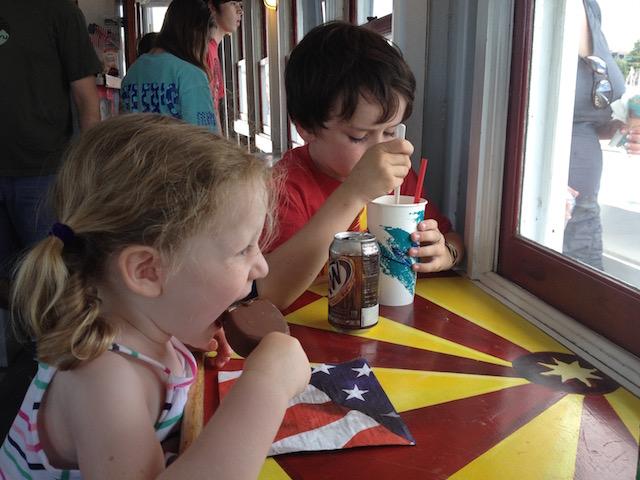 Eating ice cream Sunday cruise