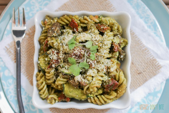 Baked Sun-Dried Tomatoes, Pesto, Noodles and Zoodles