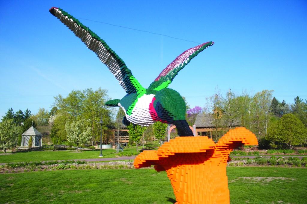 Six-foot-tall hummingbird sculpture