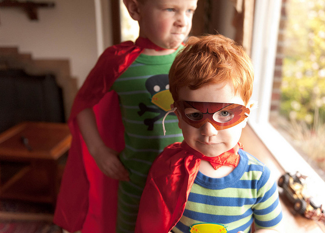superhero kids in capes dress up