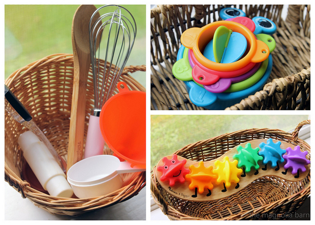 Kitchen tools and toys in a basket