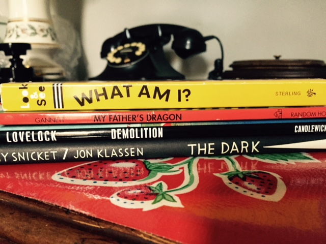 kids books stack spine poetry