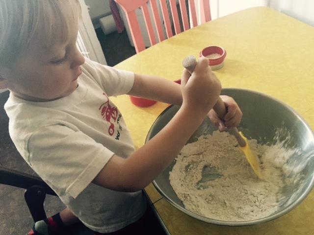 mixing playdough step by step