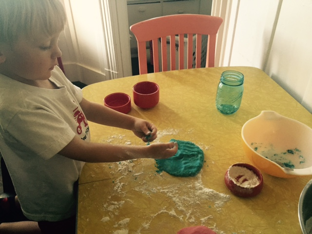 kneading playdough