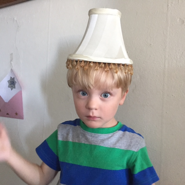henrik with lampshade on head silly hat day