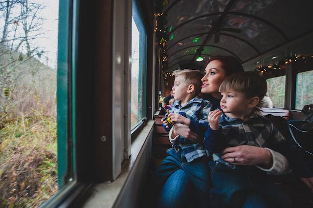 Boys watching Santa Train