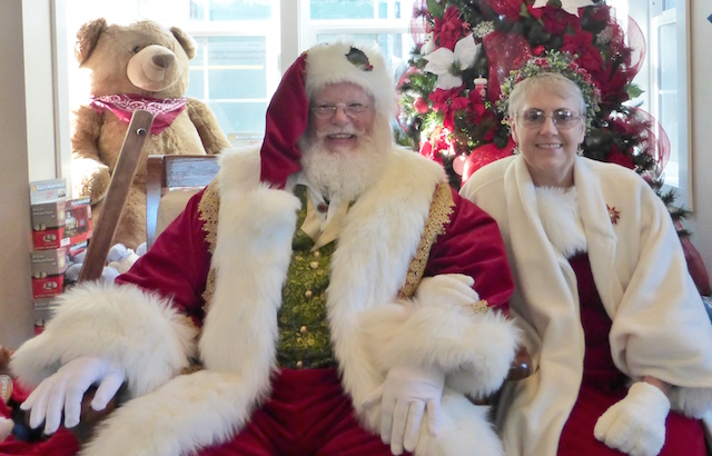 Mr and Mrs Claus at the depot gift shop