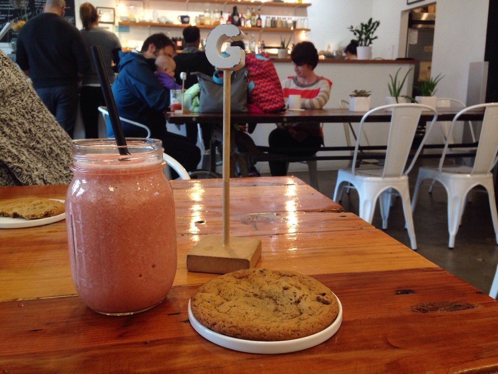 Table with cookie and smoothie