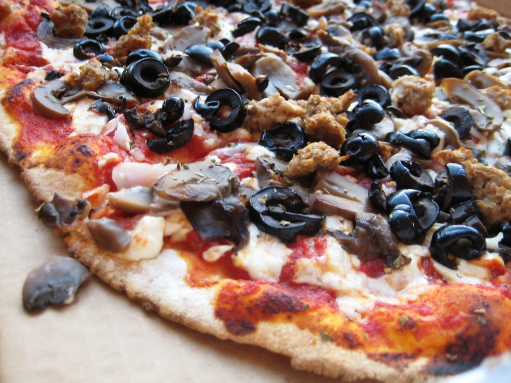 pizza with black olives