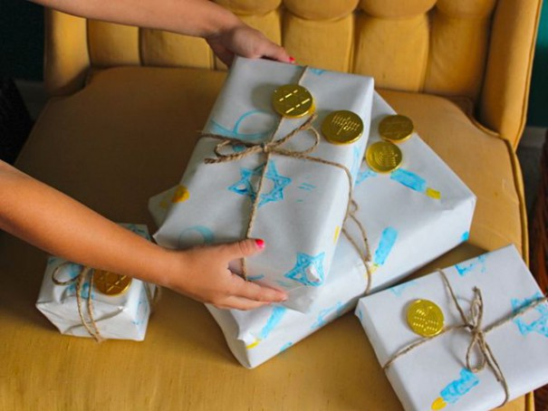 Homemade Hanukkah Wrapping Paper