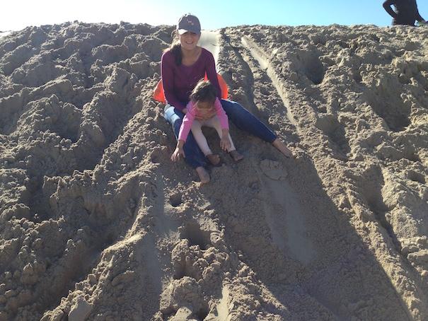 Sand Sledding Together
