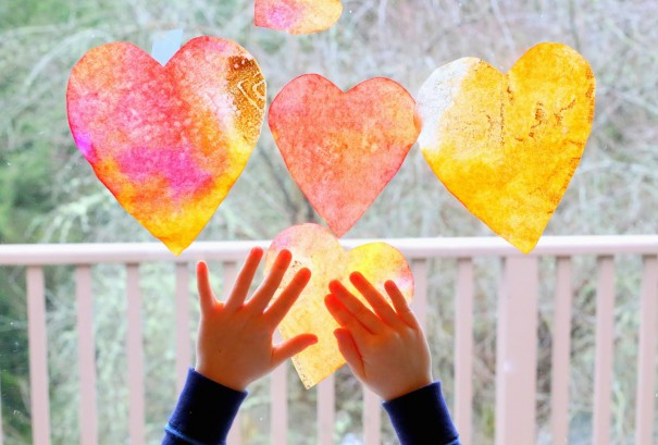 Fun at Home with Kids heart suncatcher