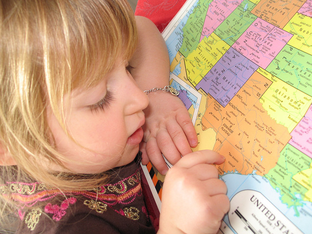kid and a map