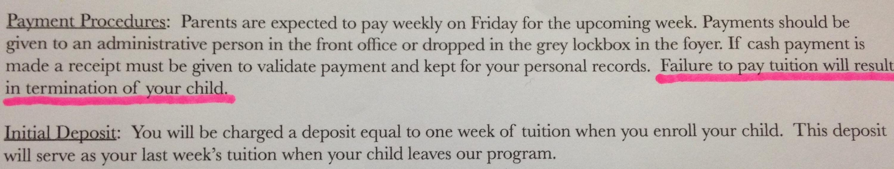 My son's new daycare isn't fucking around with payment - Imgur