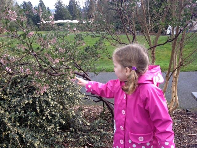 zoo garden tour girl touching plant