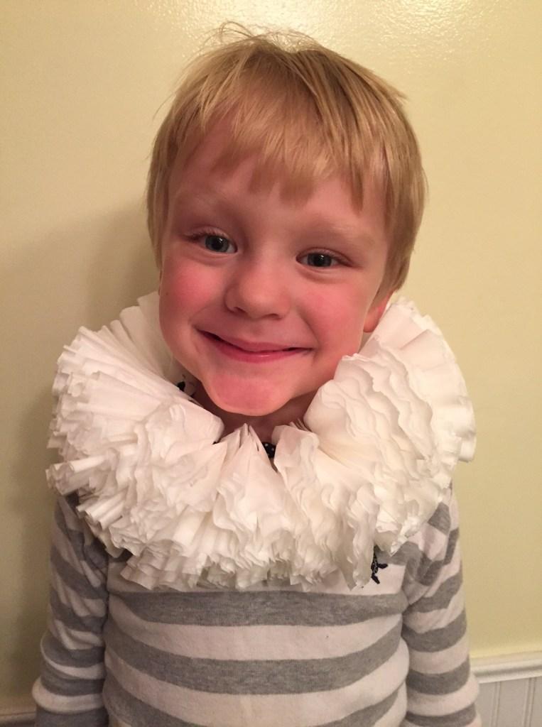 disfraz de shakespeare de cuello isabelino para niño
