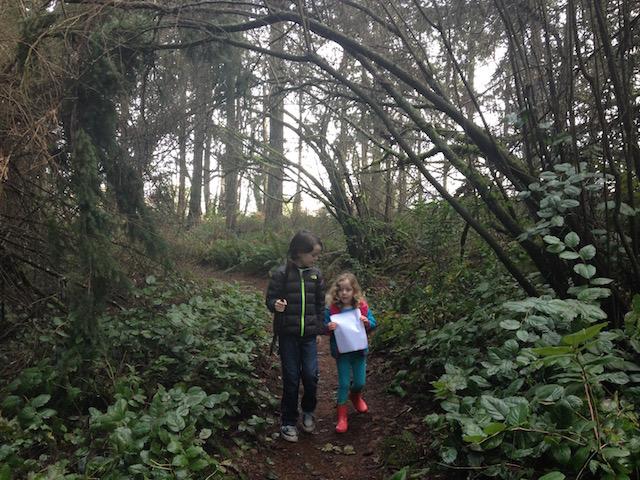 kids on trail at Snake Lake