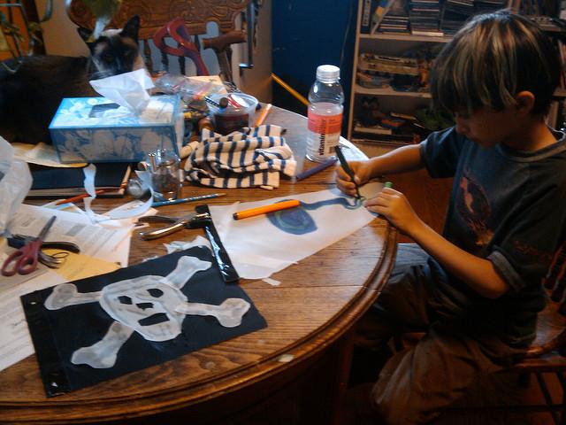 kid making flag