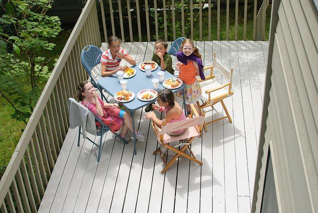 Portland kids on patio