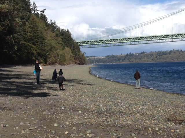 Narrows Beach family walking