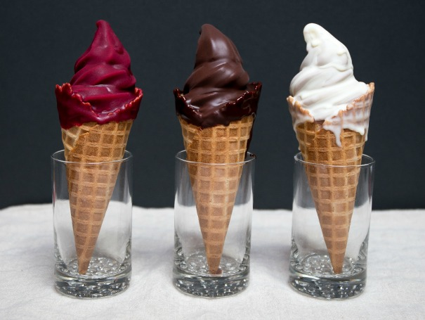 Wiz Bang Bar by Salt & Straw Hand dipped cones: Oregon black raspberry, black truffle white chocolate, single origin chocolate